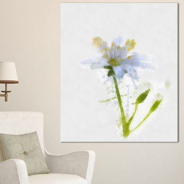Designart White Green Watercolor Flower Sketch Floral Canvas Art Print