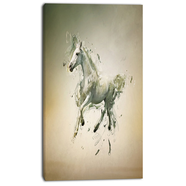 Design Art White Horse In Motion On Brown Animal Canvas Wall Art