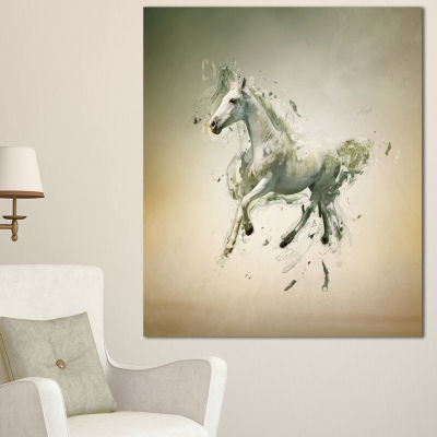 Designart White Horse In Motion On Brown Animal Canvas Wall Art - 3 Panels