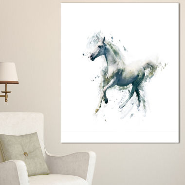 Designart White Horse In Motion On White Animal Canvas Wall Art