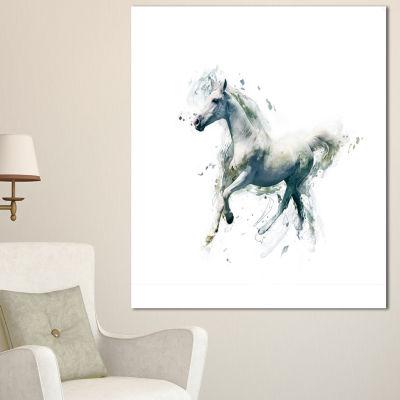 Design Art White Horse In Motion On White Animal Canvas Wall Art