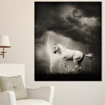 Designart White Horse Under Thunder Sky Animal Canvas Art Print