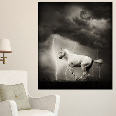 Designart White Horse Under Thunder Sky Animal Canvas Art Print - 3 Panels