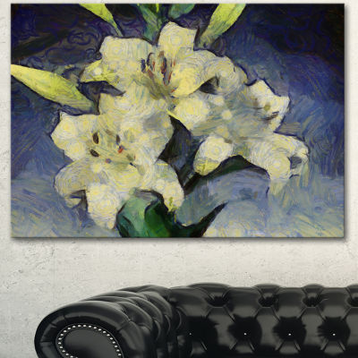 Design Art White Lilies On Blue Watercolor FloralCanvas Art Print