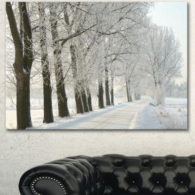 Designart Winter Rural Road At Sunrise Large Forest Canvas Art Print - 3 Panels