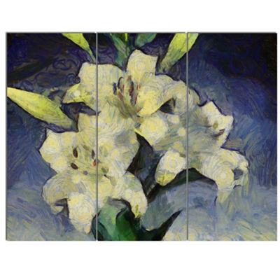 Designart White Lilies On Blue Watercolor FloralCanvas Art Print - 3 Panels
