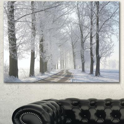 Designart Winter Rural Road In The Morning LargeForest Canvas Art Print