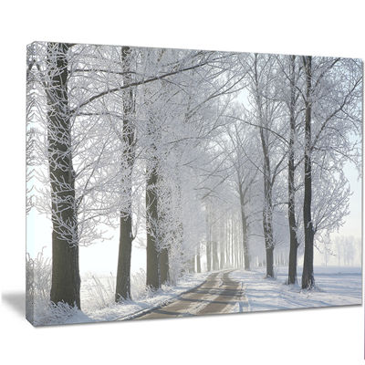 Designart Winter Rural Road In The Morning LargeForest Canvas Art Print