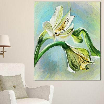 Design Art White Lily Flower Sketch Watercolor Floral Canvas Art Print - 3 Panels