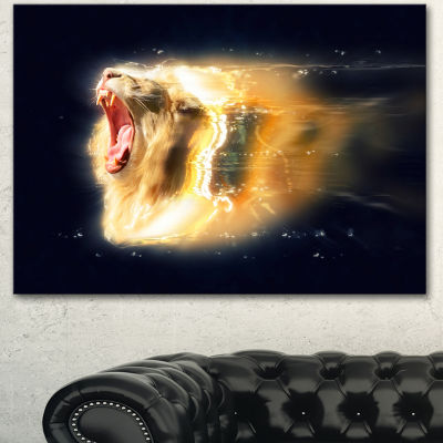 Designart White Lion With Open Jaws Animal CanvasWall Art