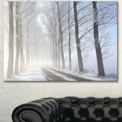 Designart Winter Rural Road On Misty Morning LargeForest Canvas Art Print - 3 Panels