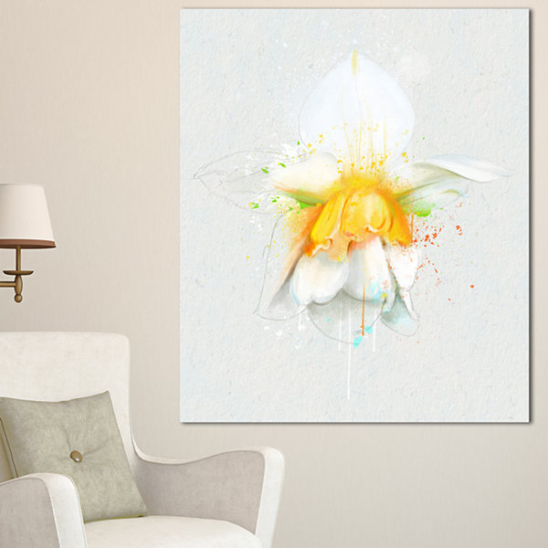 Designart White Narcissus Flower Watercolor FloralCanvas Art Print