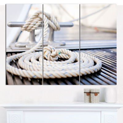 Designart White Nautical Mooring Rope Modern Landscape Canvas Art - 3 Panels