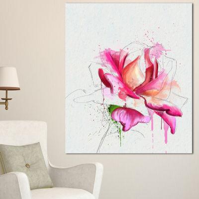 Designart Violet Watercolor Rose Sketch Floral Canvas Art Print