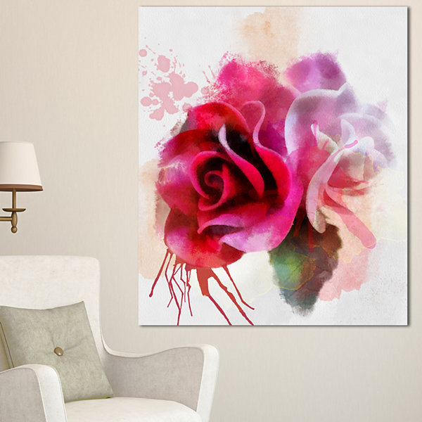 Design Art White Red Roses With Color Splashes Floral Canvas Art Print
