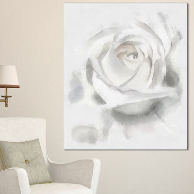 Designart White Rose Watercolor On White Flower Artwork On Canvas