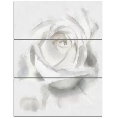 Designart White Rose Watercolor On White Flower Artwork On Canvas - 3 Panels
