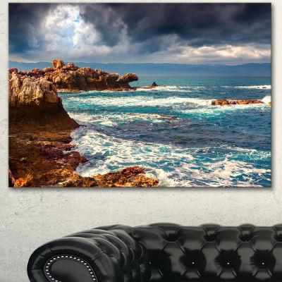 Designart Volcanic Beach Stormy Weather SeashoreCanvas Art Print - 3 Panels
