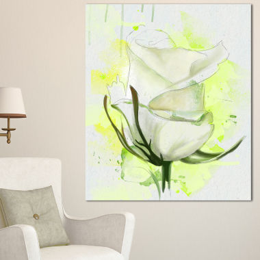 Design Art White Roses Watercolor Sketch Floral Canvas Art Print