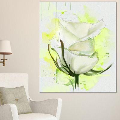 Designart White Roses Watercolor Sketch Floral Canvas Art Print - 3 Panels