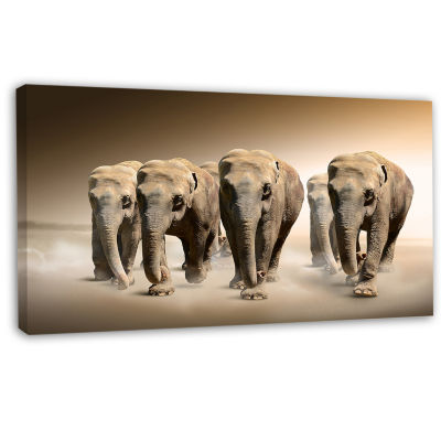 Designart Walking Herd Of Elephants Animal CanvasWall Art