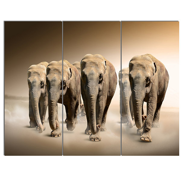 Designart Walking Herd Of Elephants Animal CanvasWall Art - 3 Panels
