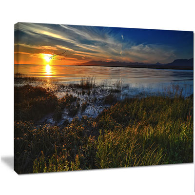 Designart Warm River Sunset With Migrating GeeseExtra Large Landscape Canvas Art Print