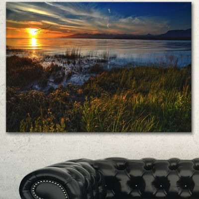 Designart Warm River Sunset With Migrating GeeseExtra Large Landscape Canvas Art Print - 3 Panels