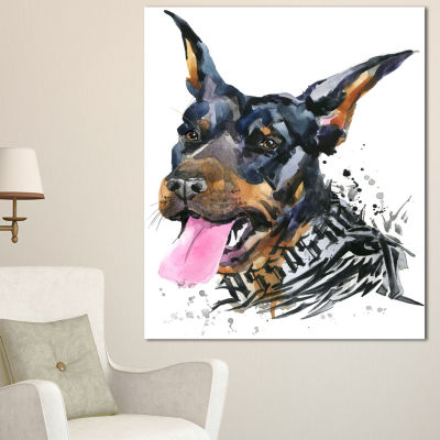 Designart Watercolor Aggressive Dog IllustrationContemporary Animal Art Canvas