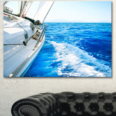 Designart White Sailing Yacht In Blue Sea Large Seashore Canvas Wall Art