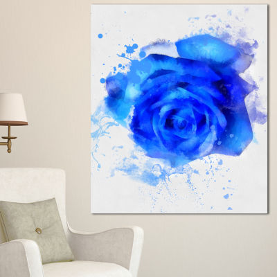 Design Art Watercolor Blue Rose Illustration Floral Canvas Art Print - 3 Panels