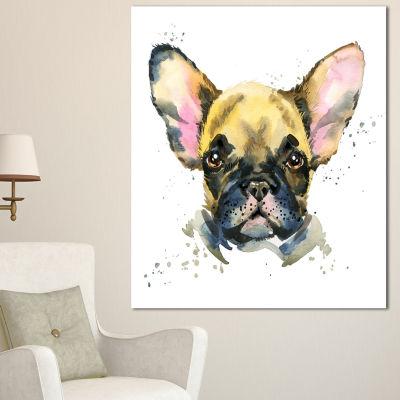 Designart Watercolor Brown Dog Illustration Contemporary Animal Art Canvas - 3 Panels