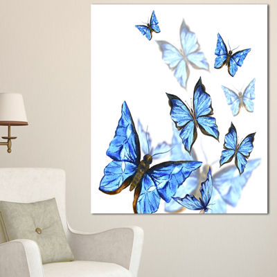 Designart Watercolor Butterflies On White FloralCanvas Art Print