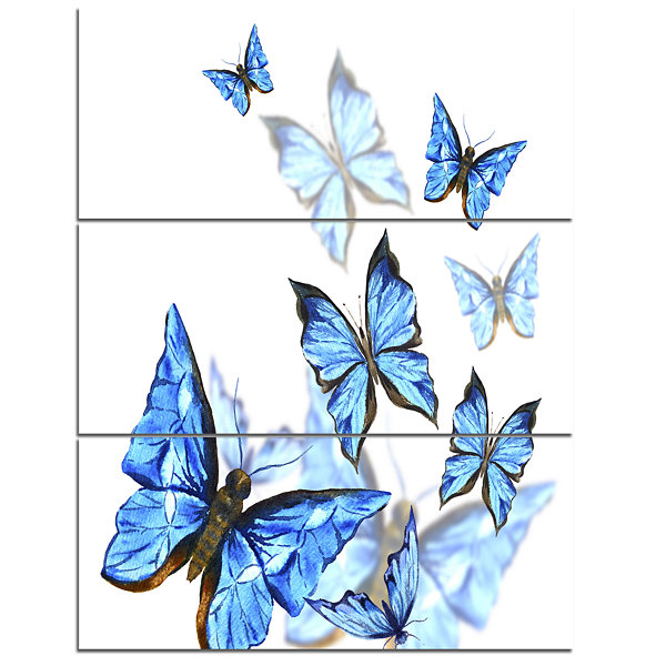 Designart Watercolor Butterflies On White FloralCanvas Art Print - 3 Panels