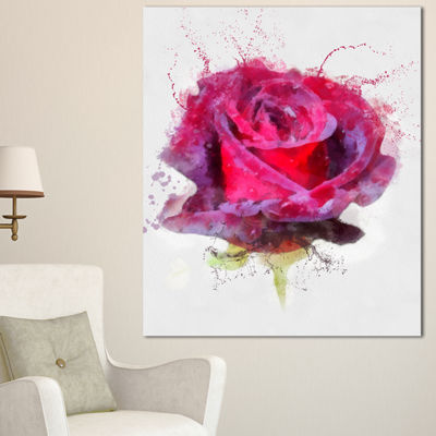 Designart Watercolor Dark Red Rose Sketch FloralCanvas Art Print