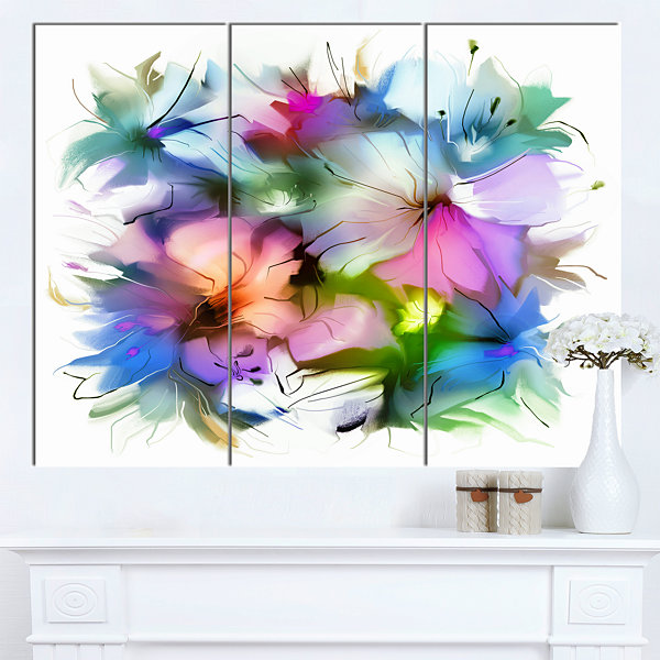 Designart Watercolor Floral Bouquet Extra Large Floral Wall Art - 3 Panels