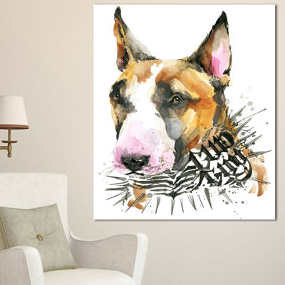 Designart Watercolor Funny Dog Illustration Contemporary Animal Art Canvas - 3 Panels