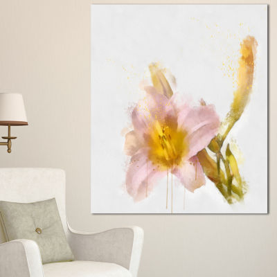 Designart Watercolor Lily With Color Splashes Floral Canvas Art Print