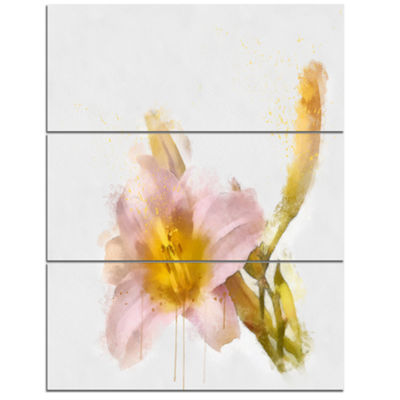 Designart Watercolor Lily With Color Splashes Floral Canvas Art Print - 3 Panels