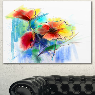 Designart Watercolor Multi Color Flower Illustration Large Floral Canvas Art Print