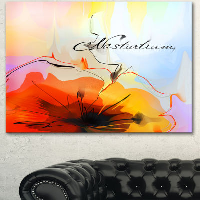 Designart Watercolor Nasturtium Flower Extra LargeFloral Wall Art - 3 Panels