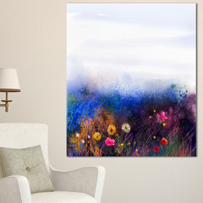 Designart Watercolor Painting Flower In Meadow Floral Canvas Art Print - 3 Panels