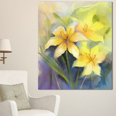 Designart Watercolor Painting Yellow Lily FlowerLarge Floral Canvas Artwork - 3 Panels