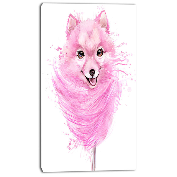 Designart Watercolor Pink Dog Illustration Contemporary Animal Art Canvas
