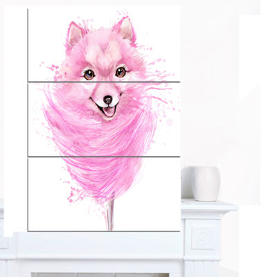 Designart Watercolor Pink Dog Illustration Contemporary Animal Art Canvas - 3 Panels