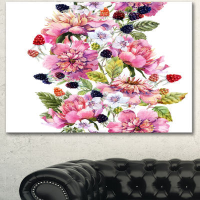 Designart Watercolor Pink Floral Composition Floral Art Canvas Print - 3 Panels
