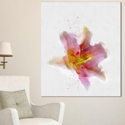 Designart Watercolor Pink Lily Flower Sketch Floral Canvas Art Print