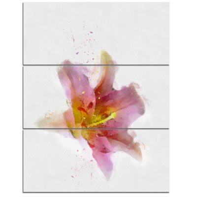 Designart Watercolor Pink Lily Flower Sketch Floral Canvas Art Print - 3 Panels