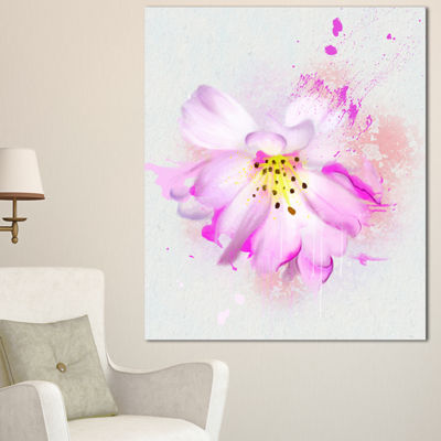 Designart Watercolor Pink Rose Illustration FloralCanvas Art Print