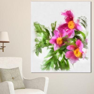 Designart Watercolor Pink Woody Peonies Floral Canvas Art Print